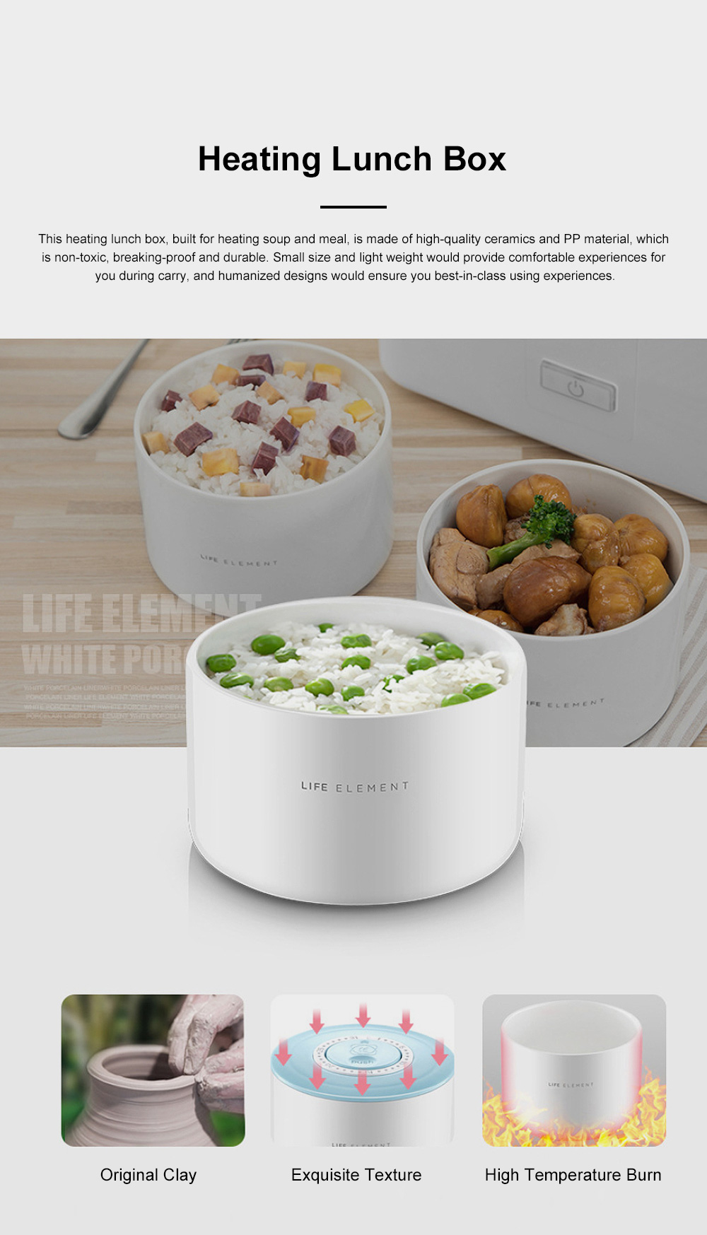 Portable Heat Preservation Electric Cooker with Double Ceramics Bowls, Delicate Food-grade PP Material Heating Lunch Box 4