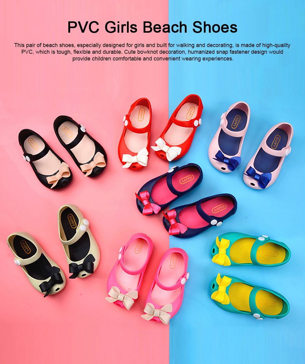Cute Stylish Bowknot Decorative Soft Flexible PVC Rubber Children Girls Nude Beach Shoes with Snap Fastener 0