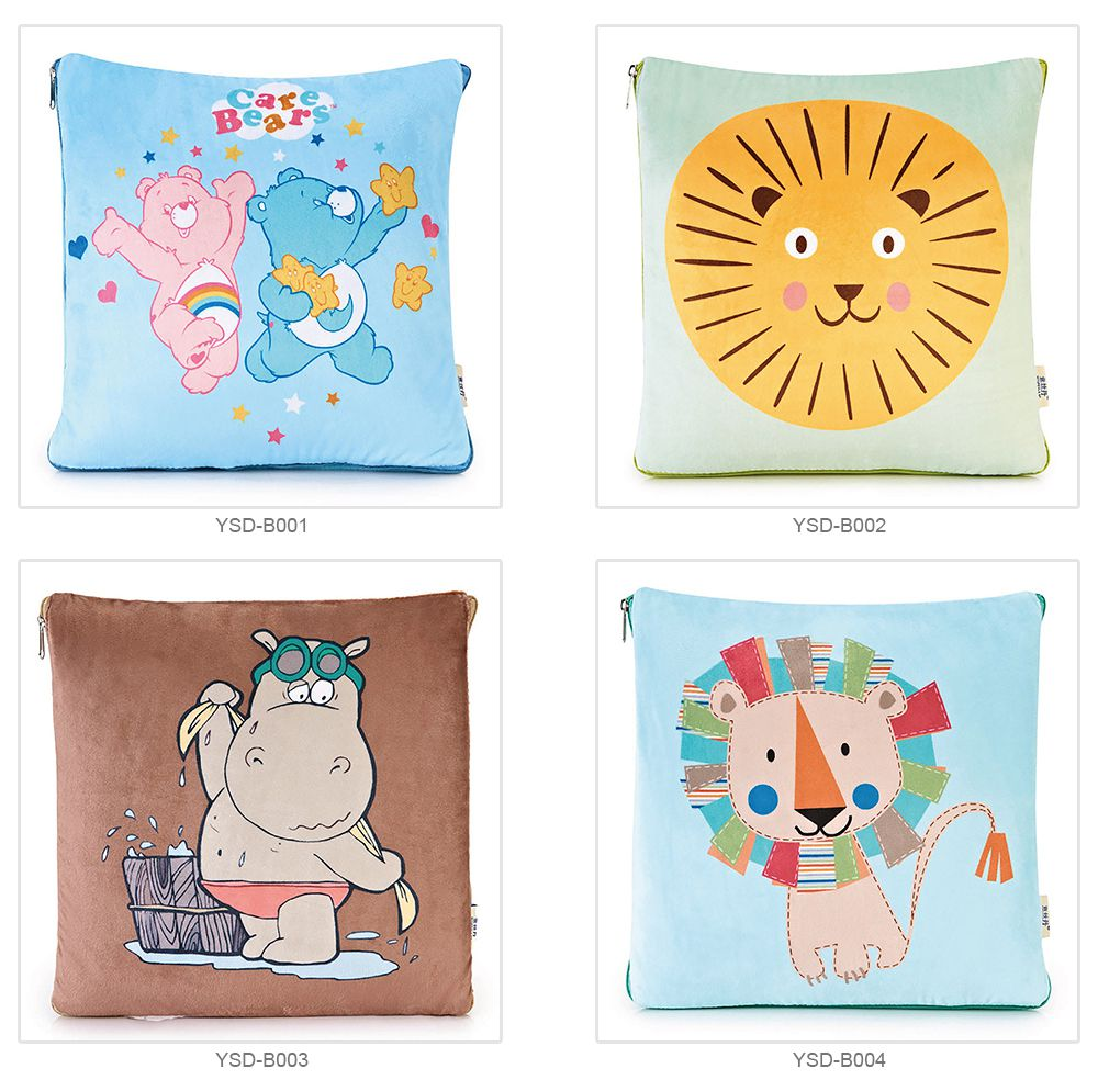 Cute Carton Painting Amphibious Dual-purpose Multifunctional Coral Fleece Blanket Office Car Waist Protection Cushion 7
