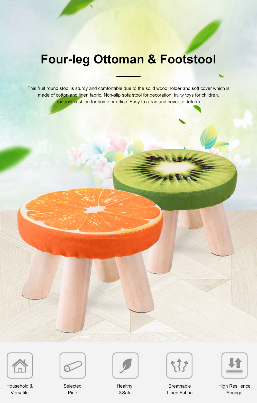 Super Simple Fruit Patterns Footstool With Solid Wooden Legs Small Round Fabric Ottoman For Home Decoration Alphanode Cool Chair Designs And Ideas Alphanodeonline