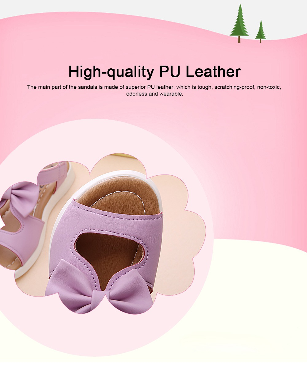 Lovely Stylish Children Girls Sandals with Bowknot Decoration Hollow Ultra-soft PU Leather Beach Shoes for Baby Girls 2