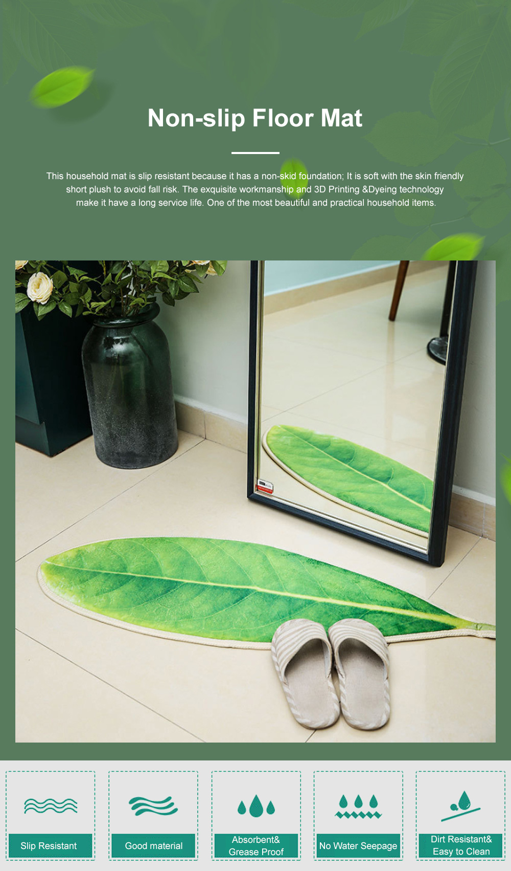 Non-slip Floor Mat for Home Bedroom Bedside Area Rugs Green with Soft Plush Anti-slip Bedroom Floor Rug 0