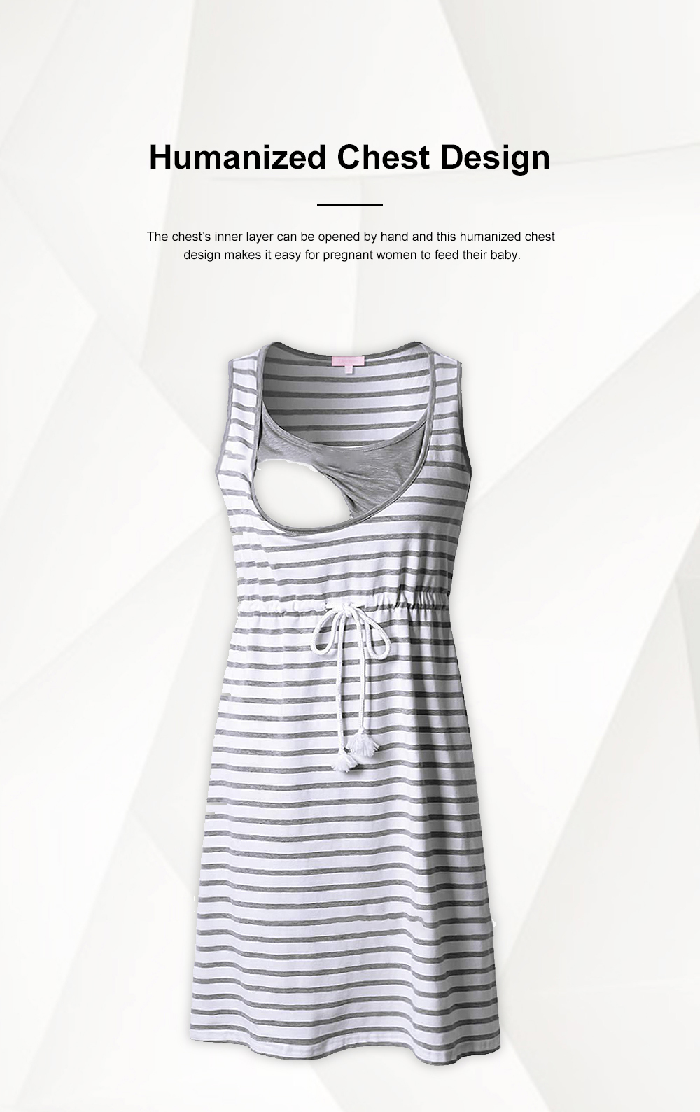 Contrast Colored Striped Maternity Dress, Pregnant Woman Cloth Nursing Dress with Drawstring Waist 2