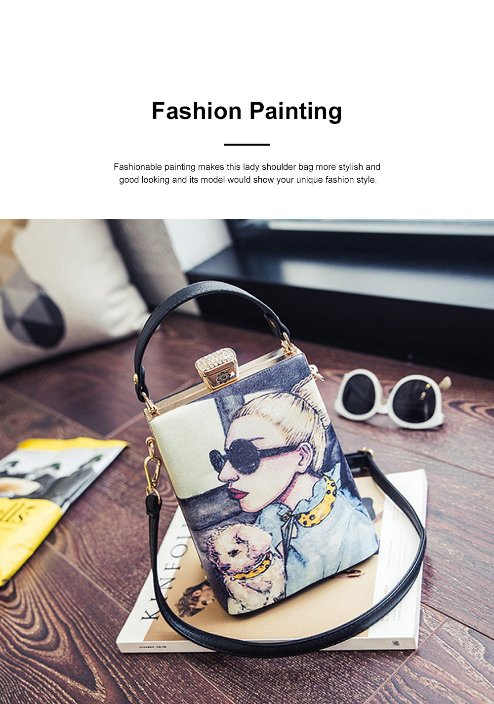Fashion Painting Small Women Shoulder Bag with Comfortable Handle, Quality Smooth PU Leather Lady Bag 4