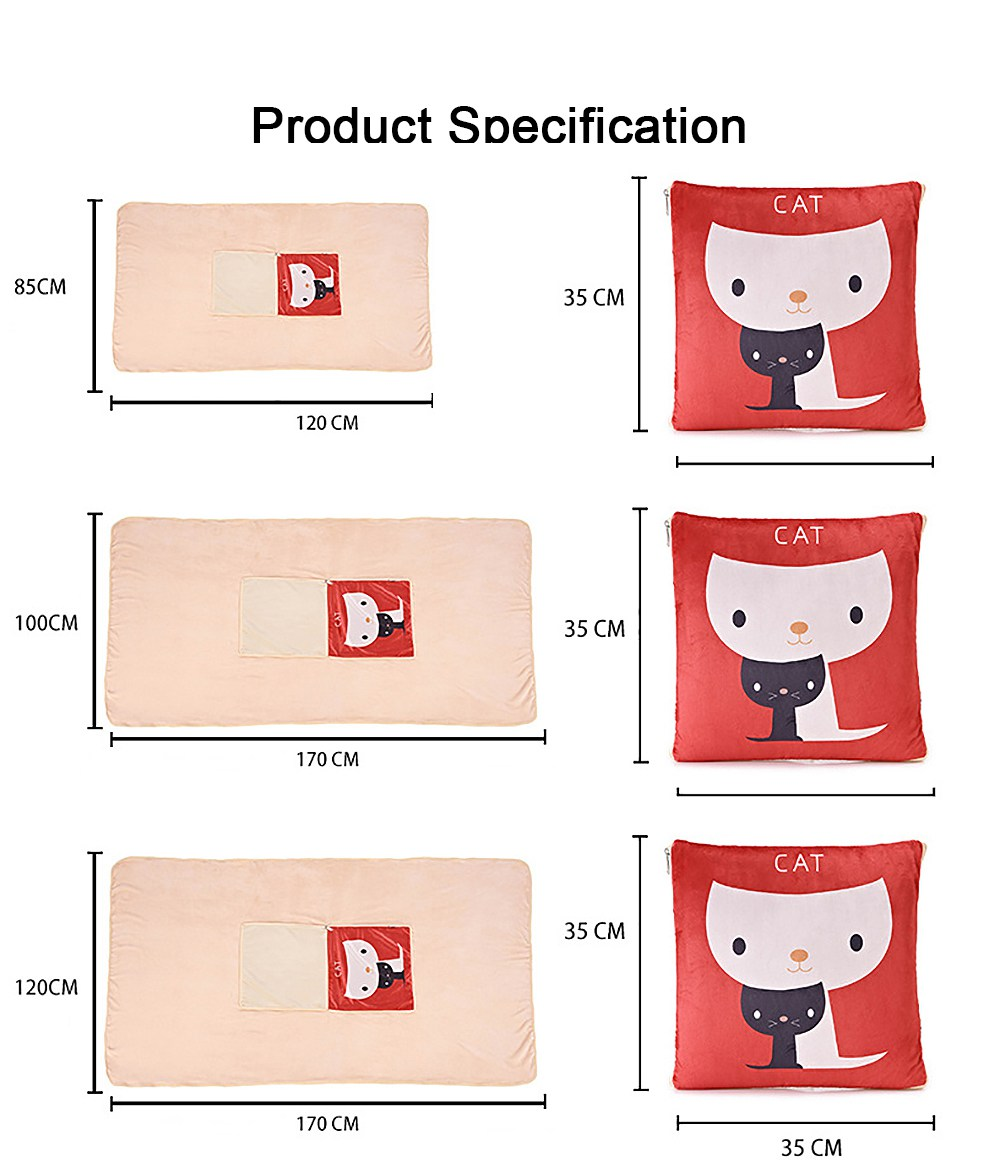 Cute Carton Painting Amphibious Dual-purpose Multifunctional Coral Fleece Blanket Office Car Waist Protection Cushion 6