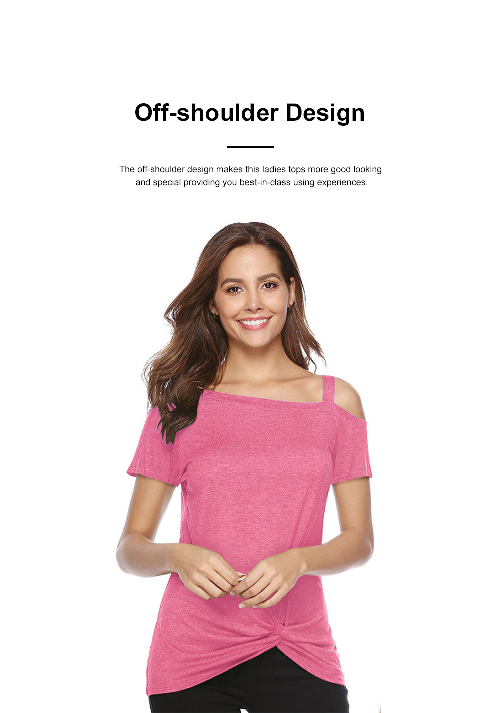 Minimalist Fashion Kink Decoration Off-Shoulder Women T-shirt, Ultra-soft Casual Pure Color Tops for Ladies 1