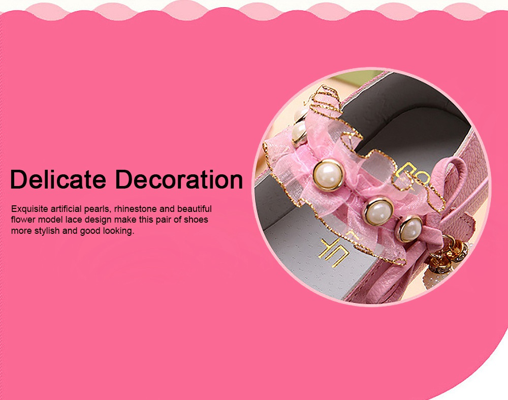 Cute Beautiful Lace Artificial Pearls Rhinestone Decorative Round Head Children Girls Soft PU Leather Nude Shoes with Magic Tape 1