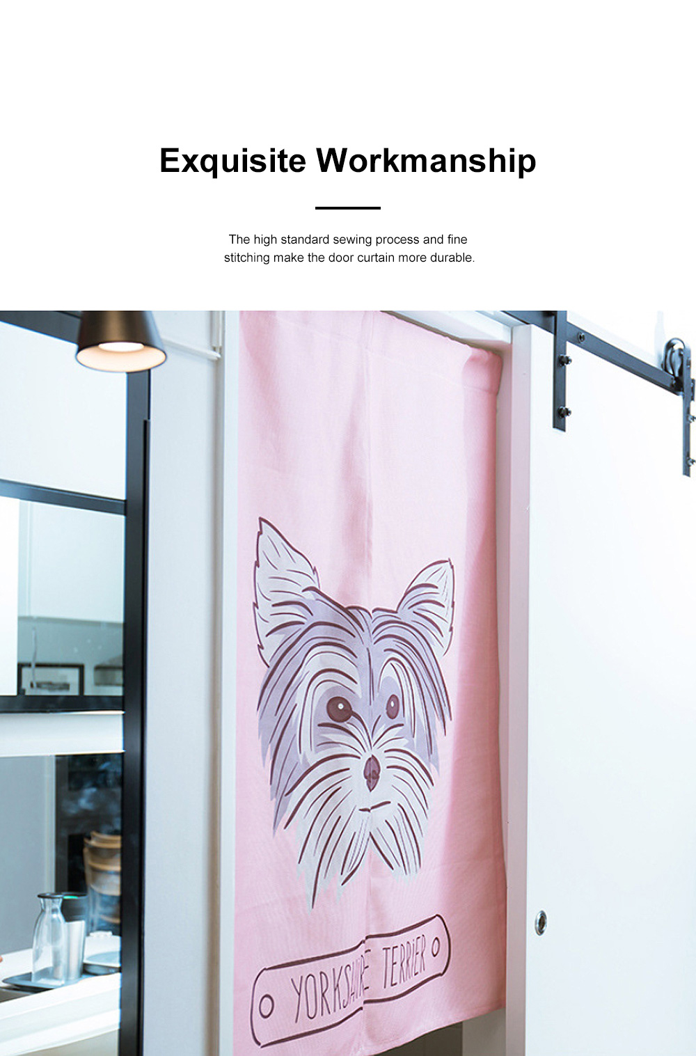 Door Window Curtain for Party with Rod Fabric Front Door Curtain Dog Print for Bedroom Living Room 2