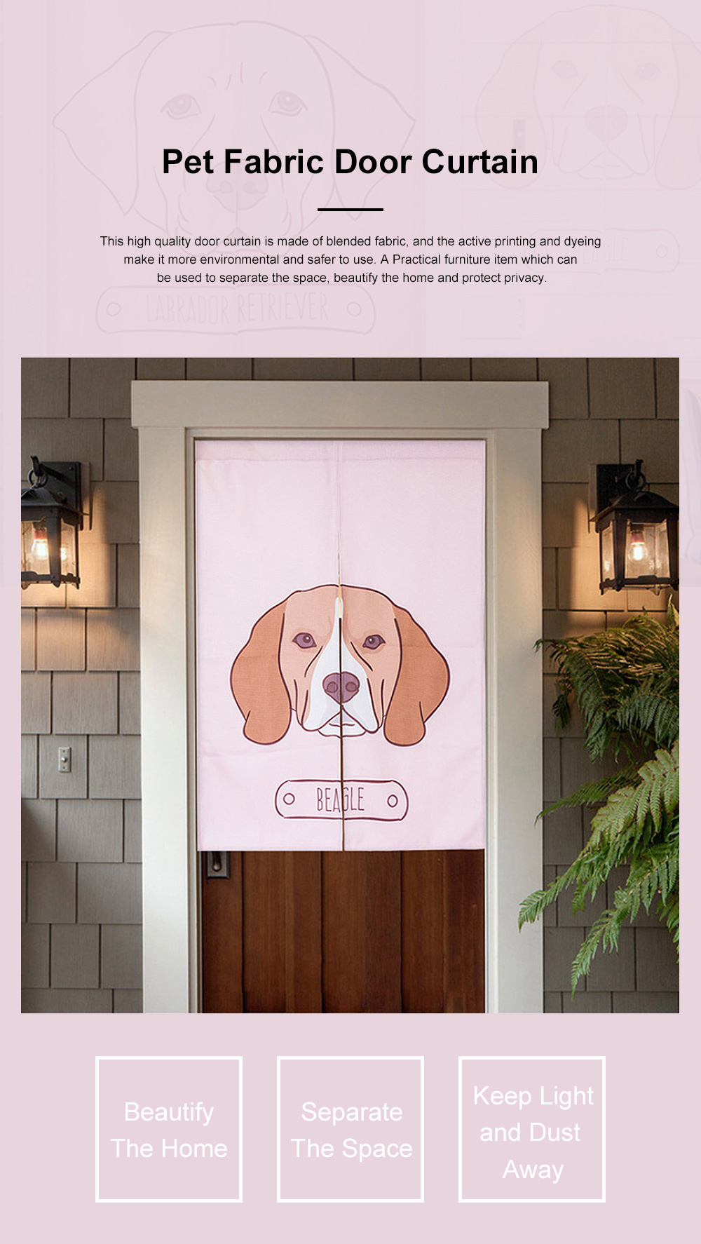 Door Window Curtain for Party with Rod Fabric Front Door Curtain Dog Print for Bedroom Living Room 0