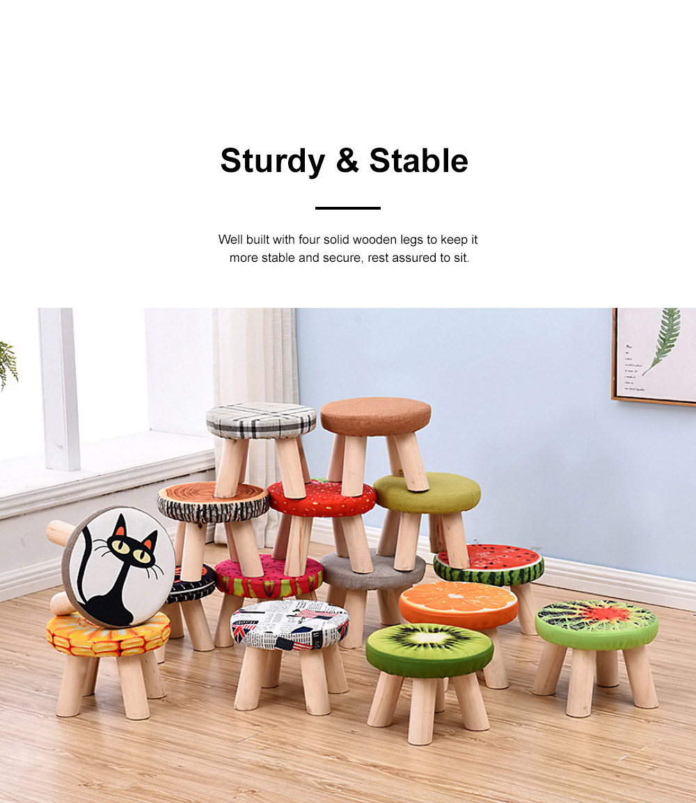 Simple Fruit Patterns Footstool with Solid Wooden Legs Small Round Fabric Ottoman for Home Decoration 3