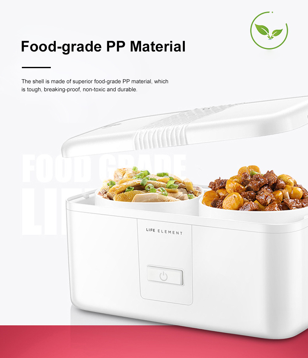 Portable Heat Preservation Electric Cooker with Double Ceramics Bowls, Delicate Food-grade PP Material Heating Lunch Box 5