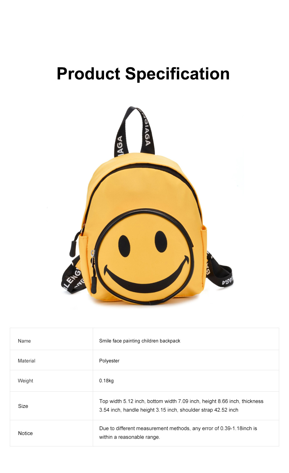Cute Cartoon Smile Face Painting Children Backpack, Small Outdoors Traveling Shoulders Bag for Boys Girls 7