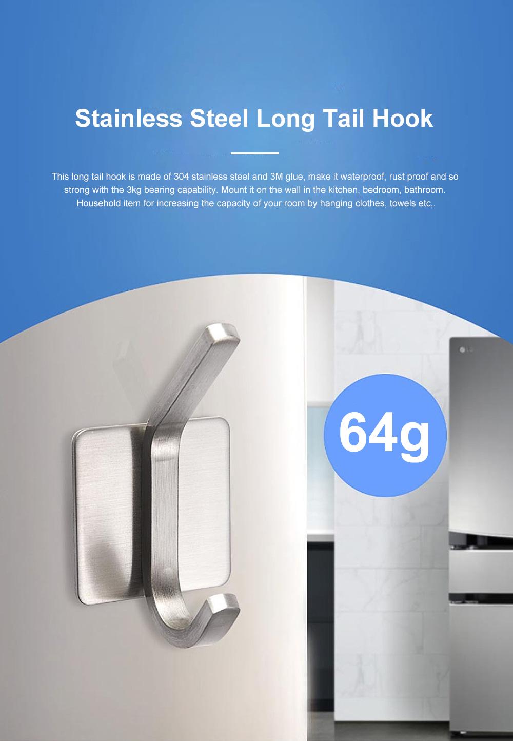 3M Glue Long Tail Hooks for Kitchen Bathroom Bedroom Hanging Waterproof 304 Stainless Steel Wall Hooks 0