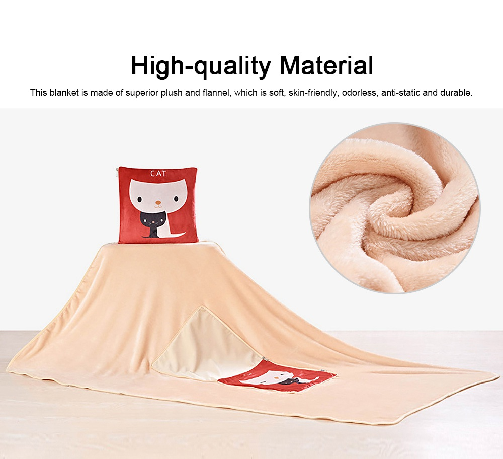 Cute Carton Painting Amphibious Dual-purpose Multifunctional Coral Fleece Blanket Office Car Waist Protection Cushion 2