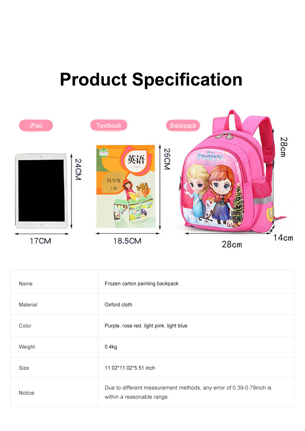 Cute Frozen Cartoon Pattern Children Backpack with Prevent Lost Band, Water-proof Oxford Cloth Kindergarten Shoulders Bag for Kids 10