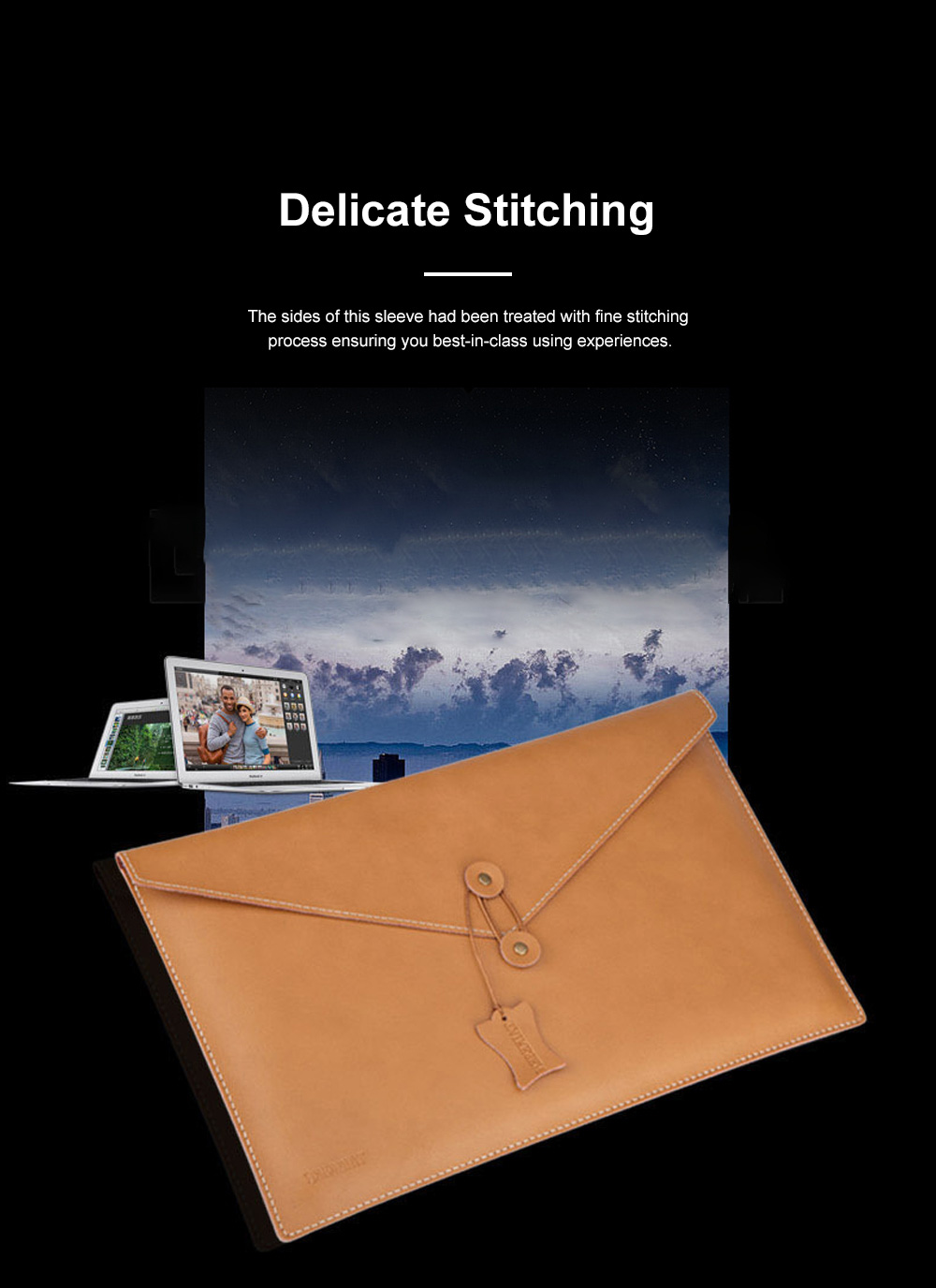 Soft Scratching-proof Leather Macbook Bag Pouch, Envelop Model Laptop Protective Cover for Macbook 11inch 12inch 13.3inch Air 15.4inch 2