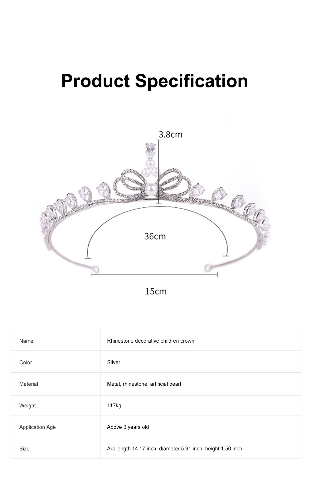 Fancy Delicate Artificial Pearl Rhinestone Decorative Crown, Evening Party Activity Baroque Style Children Hair Band for Girl 6