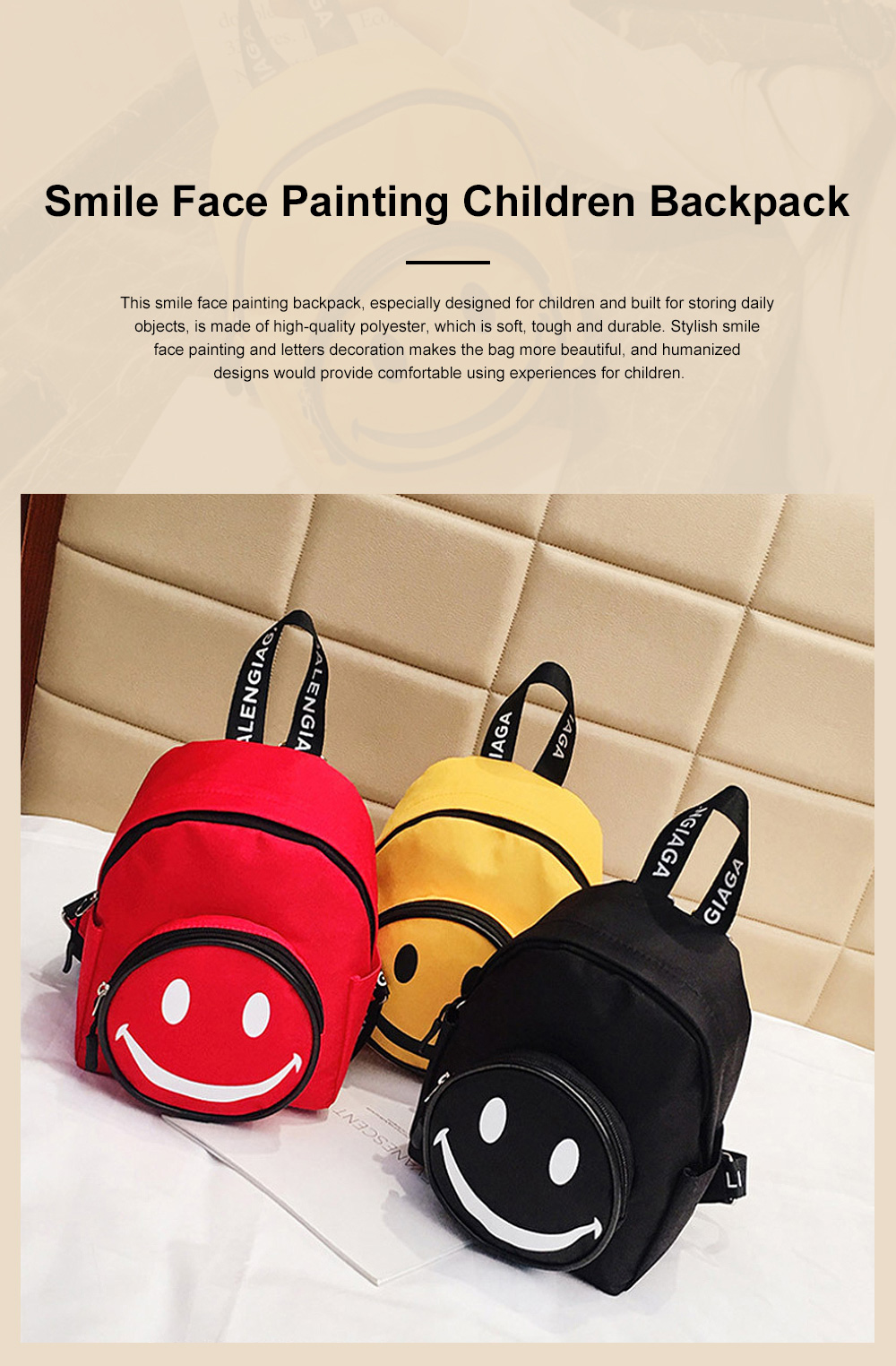 Cute Cartoon Smile Face Painting Children Backpack, Small Outdoors Traveling Shoulders Bag for Boys Girls 0