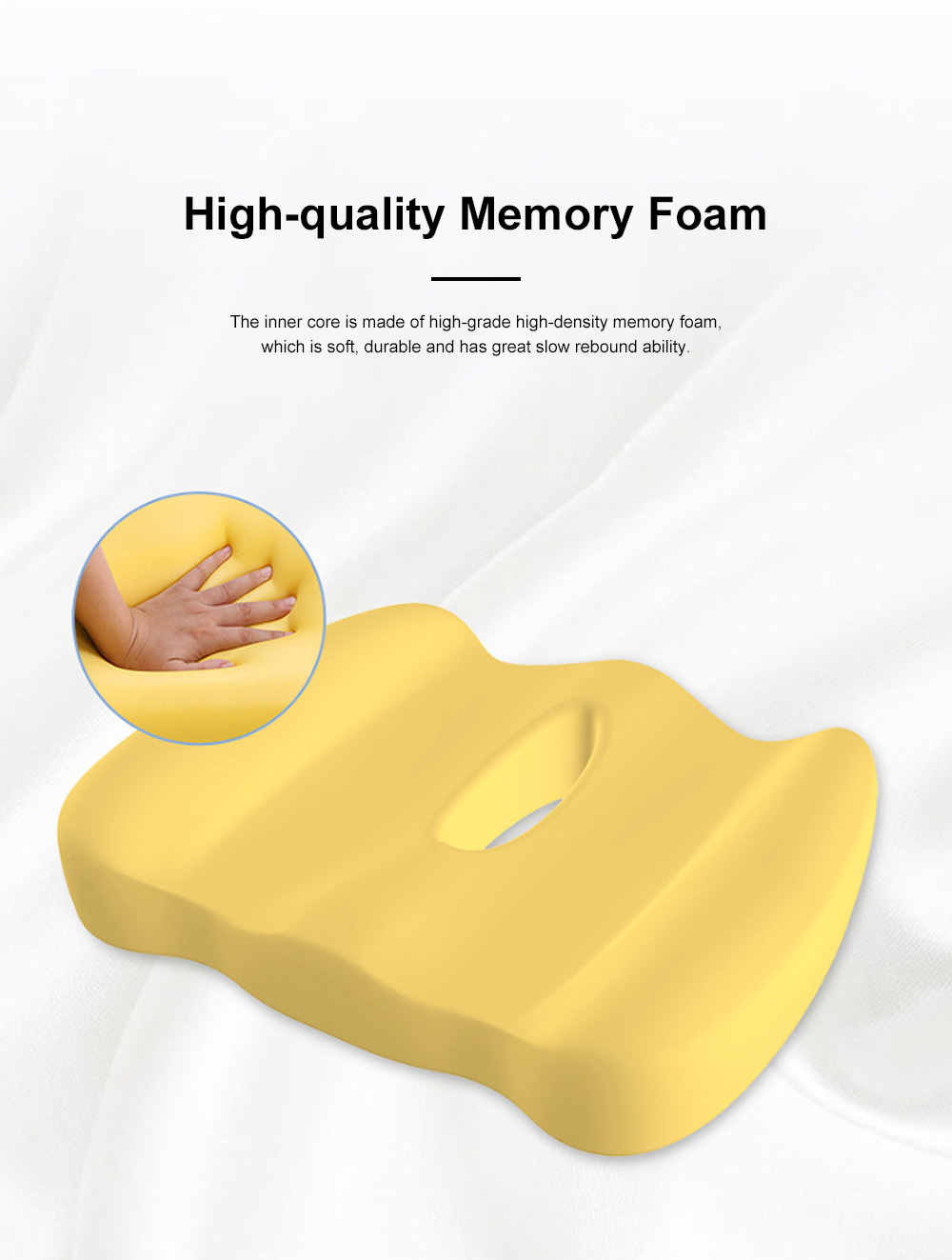 Ultra-soft Breathable Mesh Fabric Memory Foam Seat Cushion, Hollow Humanized Car Office Chair Seat Pillow 2