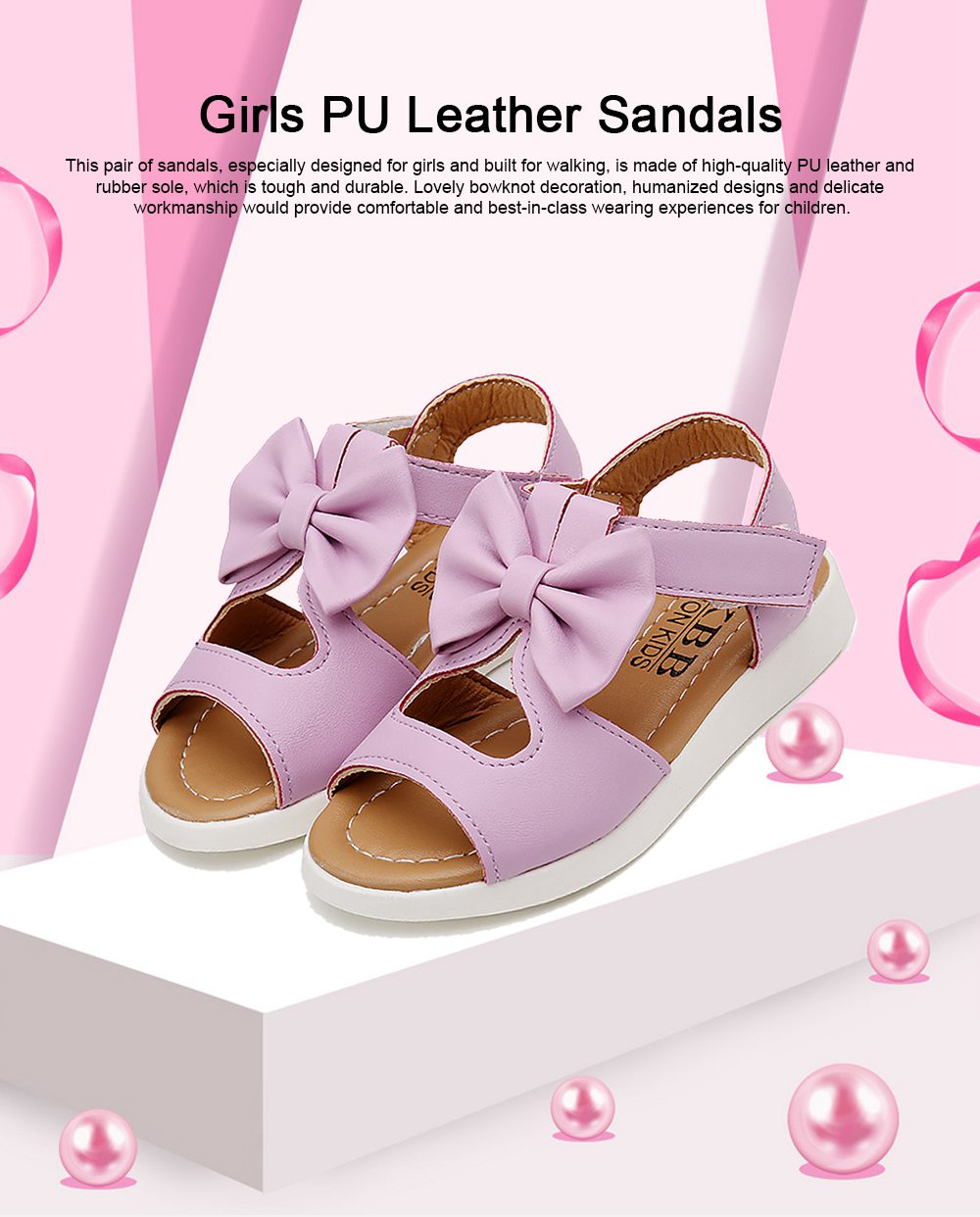 Lovely Stylish Children Girls Sandals with Bowknot Decoration Hollow Ultra-soft PU Leather Beach Shoes for Baby Girls 0