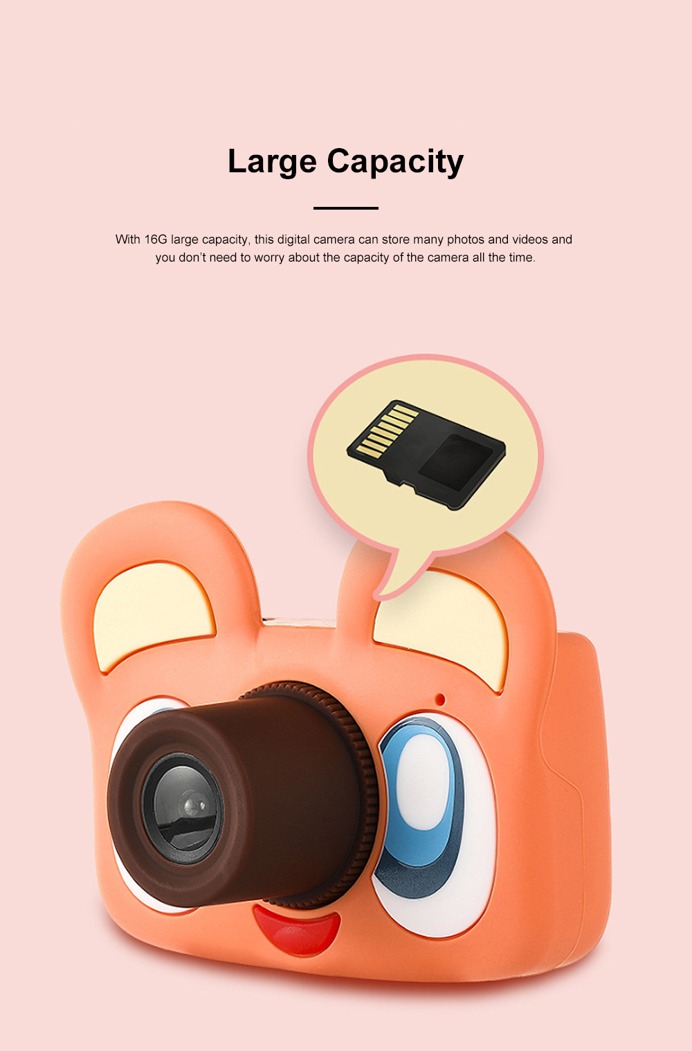 Cute Animal Model Mini Digital Camera for Children WIth Breaking-proof Silicone Shell 16G 1200W HD Pixel 2.0 inch Video Recorder Birthday Present 4