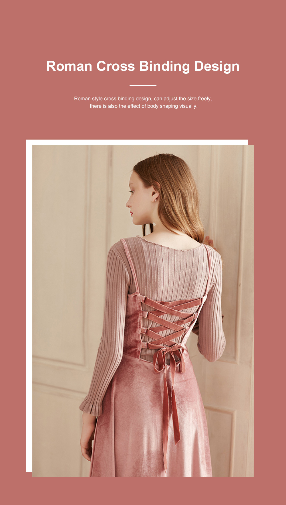 Women's Overall Suspender Dress Velvet Classic Retro Style with High Waist and Back Strap Ankle Length Bottoming Vest Skirt 2