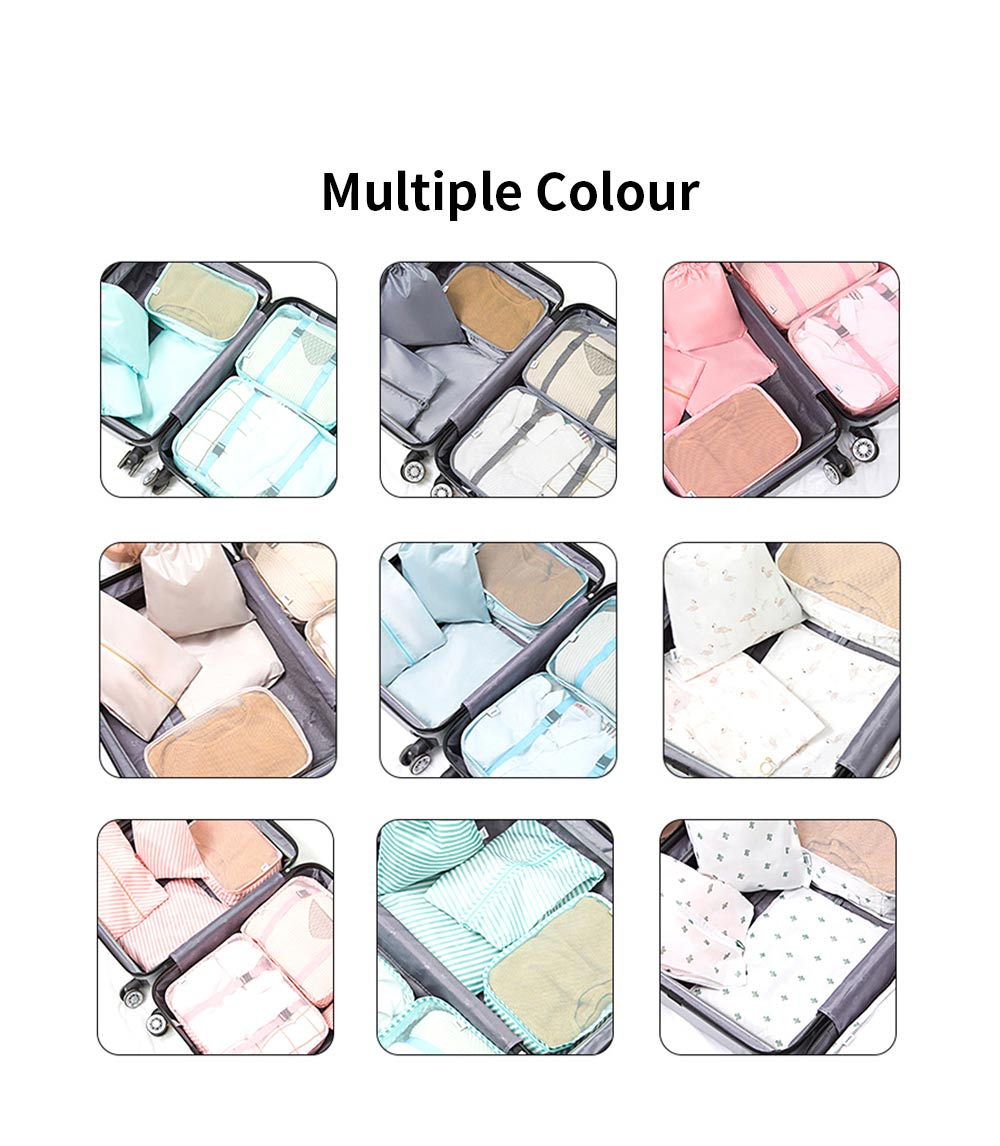 Seven Pieces Travel Storage Bag Set Wash Clothes Bag Luggage Packing Organizer with Different Sizes 4