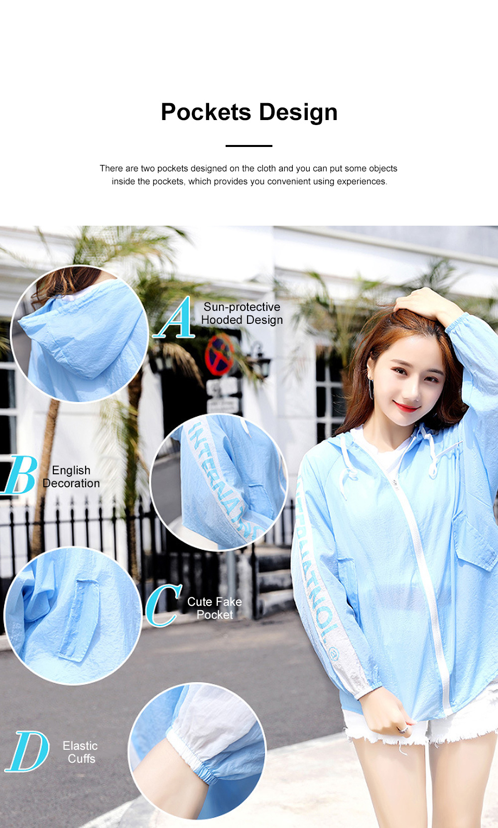 Stylish English Decoration Ultra-thin Sun-protective Clothing, Ultraviolet-Proof Quick Dry Outdoors Coat for Ladies 3