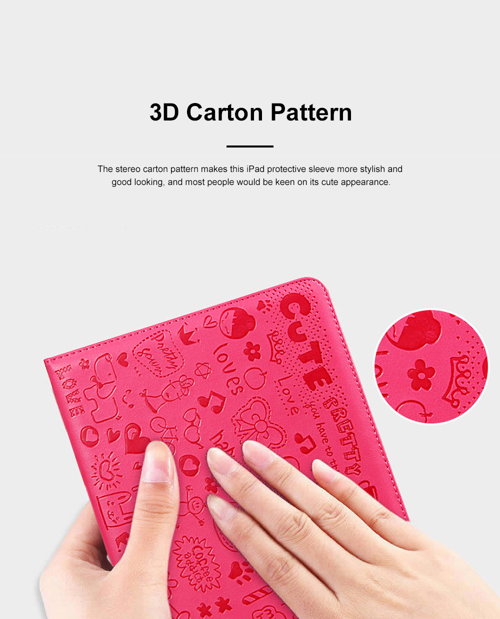 Creative Cute Stereo Cartoon Pattern iPad Protective Sleeve, Smooth PU Leather Tablet Computer Protection Case 3