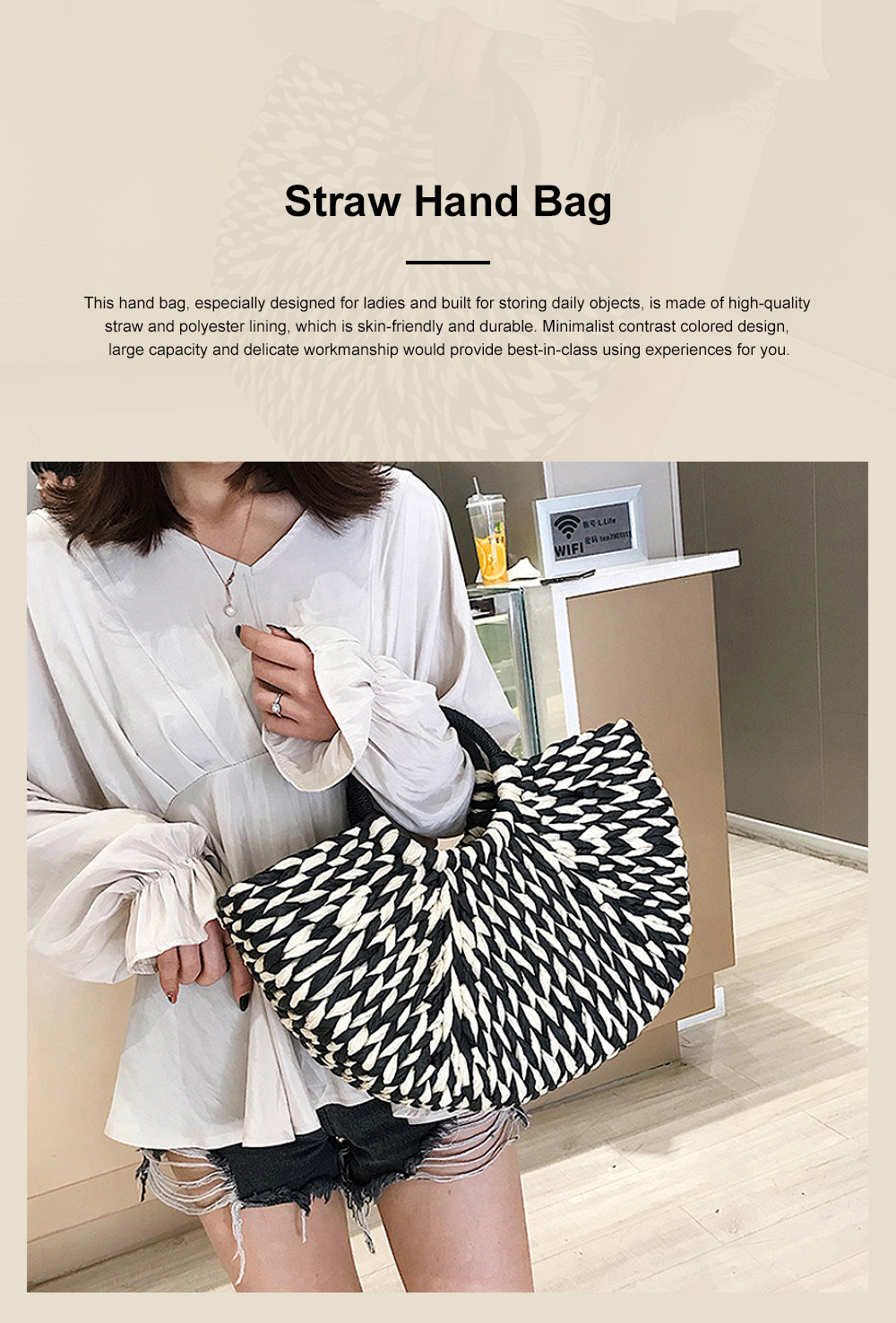 Fancy Elegant Contrast Colored Lady Straw Hand Bag, Minimalist Arch Vacation Beach Hand Bag for Women 0