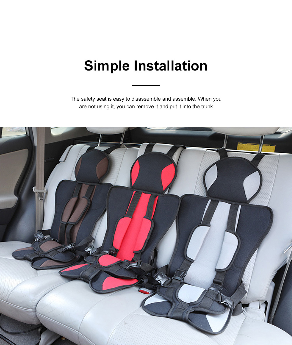 Simple Installation Comfortable Child Safety Seat, Foldable Soft Car Safety Seat for Kids with Five-point Buckle 2