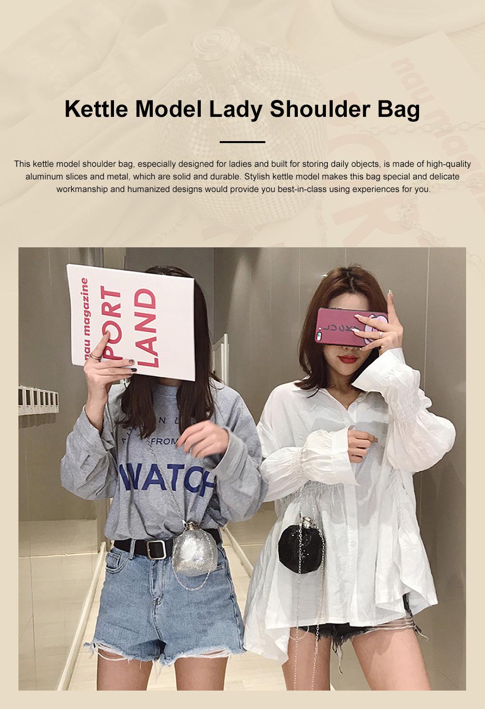 Creative Shiny Aluminum Slices Kettle Model Lady Shoulder Bag, Fashion Stylish Wine Pot Jar Hand Bag for Women 0