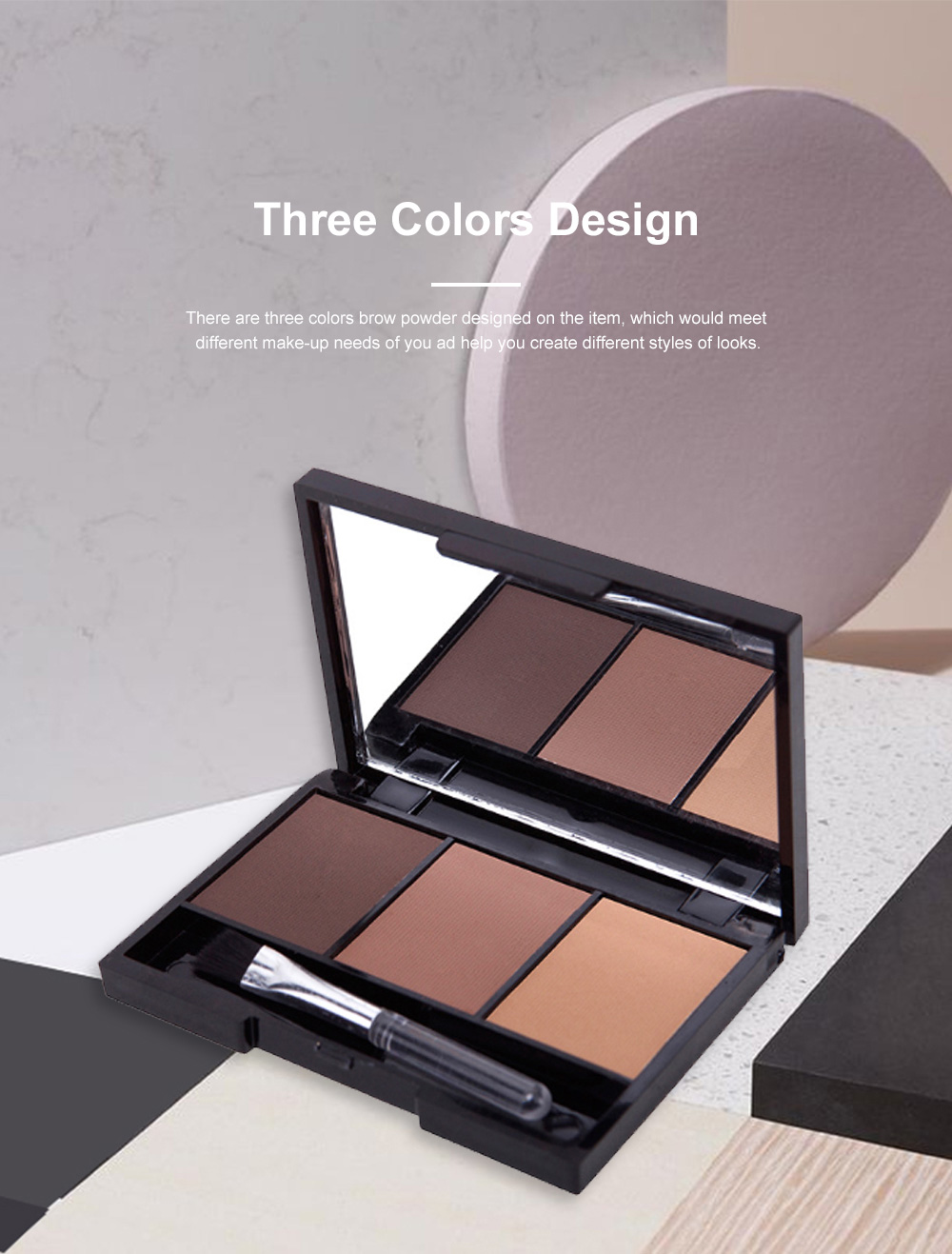 Delicate Fine Three Colors Brow Powder with Brush Mirror Enduring Easy Coloring Eyebrow Makeup Tool Accessories 1