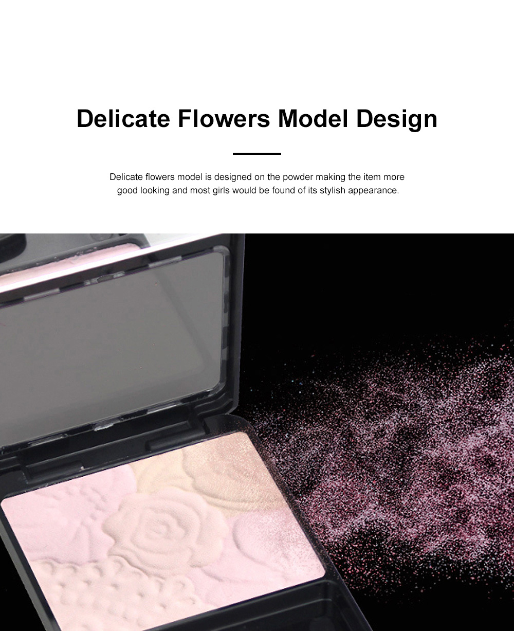 Fine Exquisite Flower Model Multicolor Highlight Pressed Powder Skin Brighten Shading Powder Cosmetic Accessories 3