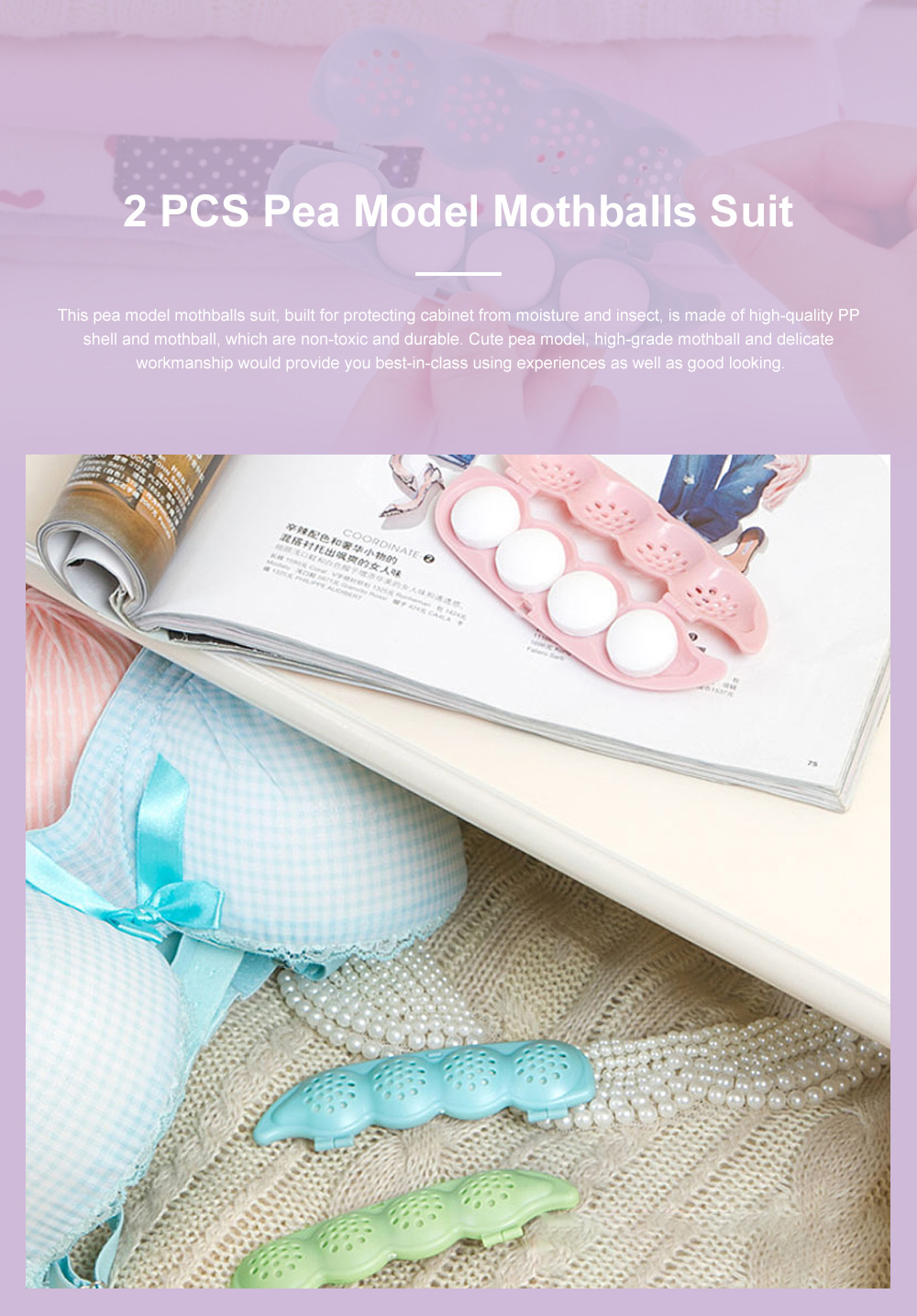 Cute Cartoon Pea Model Anti-Insect Moisture-proof Mothproof Cabinet Closet Wardrobe Drawer Car 2 PCS Mothballs Set Insect-Proof Balls Camphor Ball 0