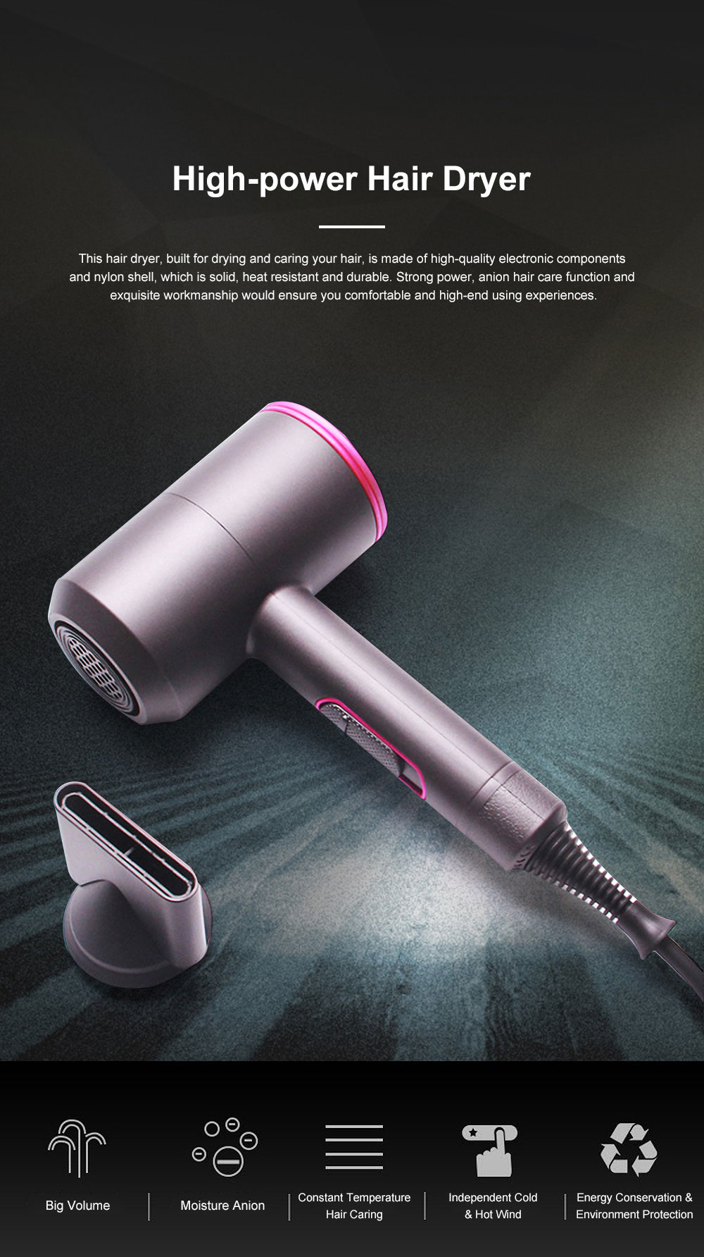 High-Power Household Anion Care Cold Hot Wind Hair Dryer Nonradiative Hair Shaping Modeling Style Tool 0
