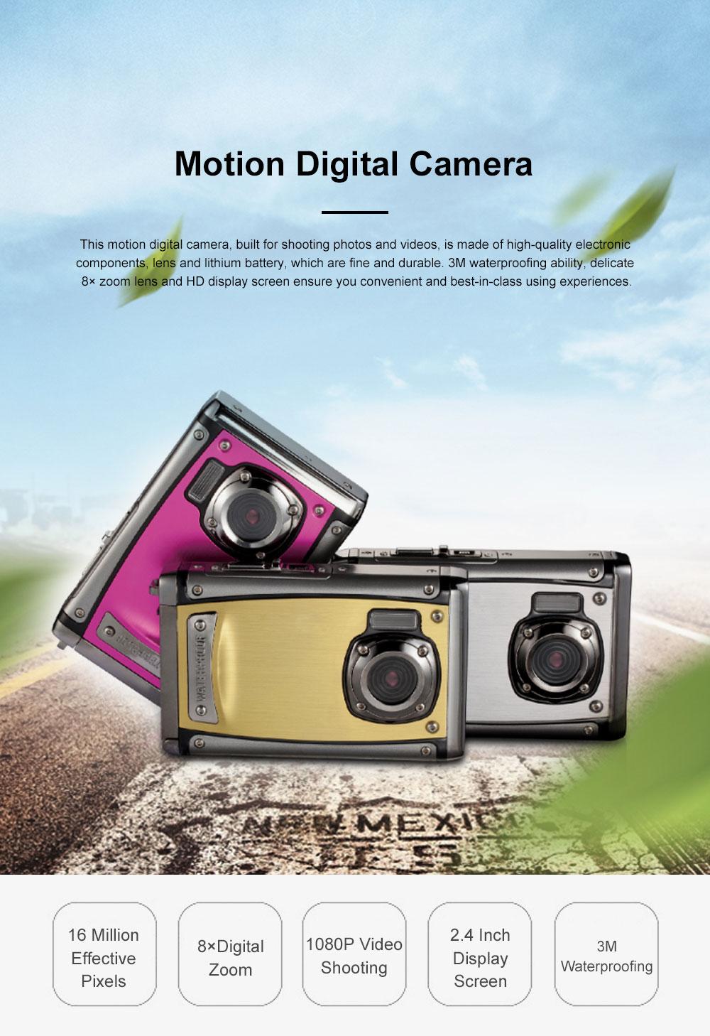 Portable Minimalist HD High Pixel Waterproof Digital Camera Sport Motion Cam with 2.4 Inch Display Screen 0