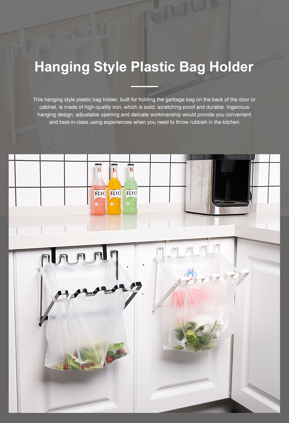 Minimalist Door Back Hanging Style Plastic Garbage Bag Holder Supporter Household Kitchen Accessories Tool 0