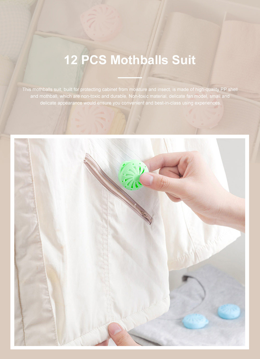 Small Delicate Closet Wardrobe Drawer Cabinet Moisture-proof Mould-proof Mothproof Get off Odor 12PCS Mothballs Suit Insect-resist Balls 0