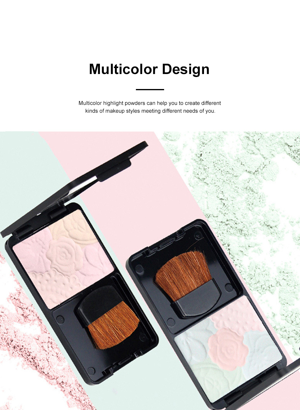 Fine Exquisite Flower Model Multicolor Highlight Pressed Powder Skin Brighten Shading Powder Cosmetic Accessories 2