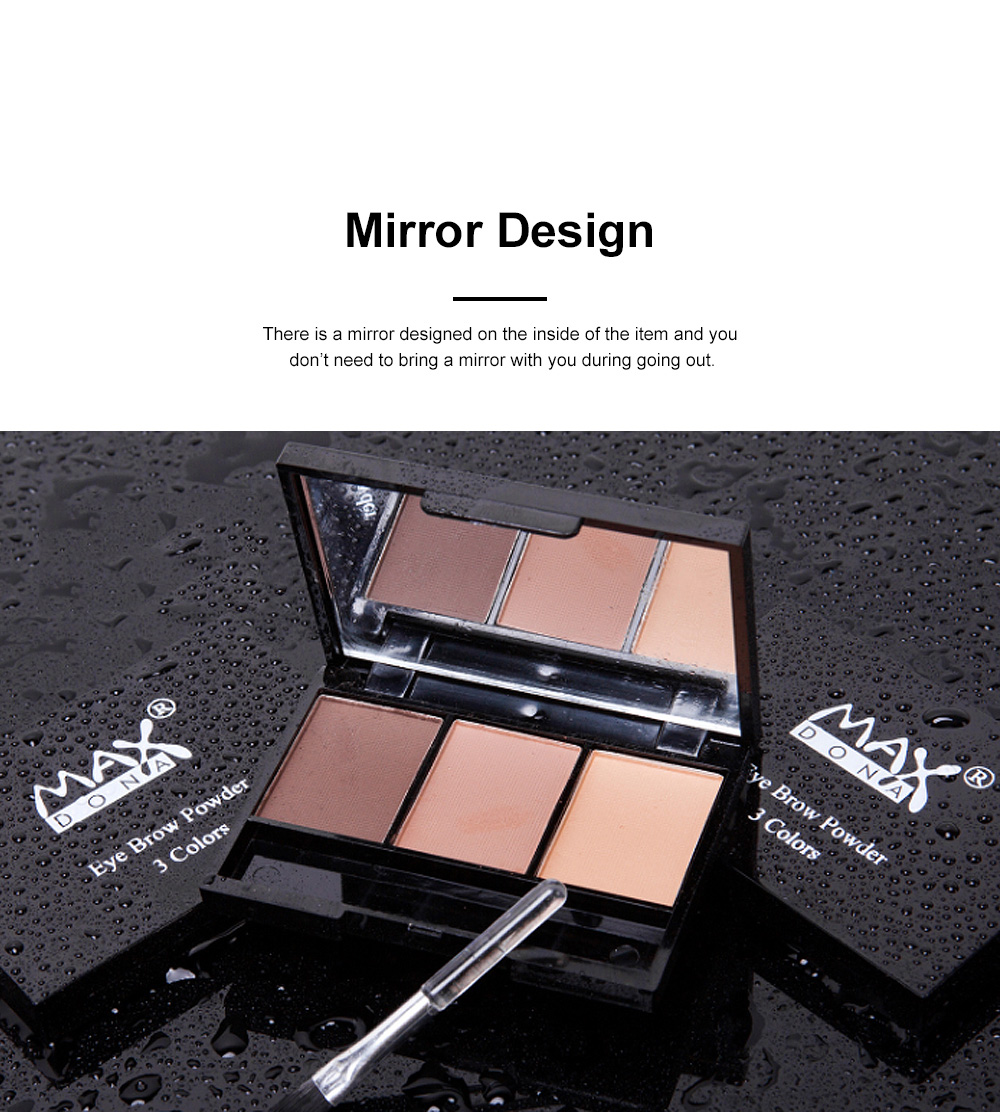 Delicate Fine Three Colors Brow Powder with Brush Mirror Enduring Easy Coloring Eyebrow Makeup Tool Accessories 2