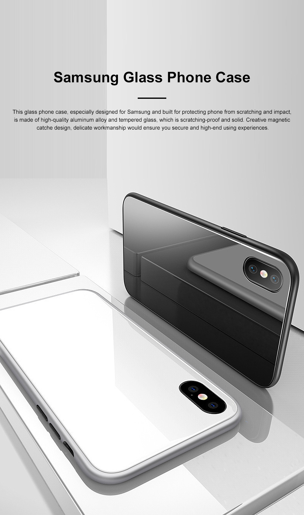 Minimalist Delicate Firmed Magnetic Catche Glass Samsung Phone Case Shock-proof Aluminum Alloy Phone Protective Cover For Samsung note 9, Samsung S9, Samsung s9 plus 0