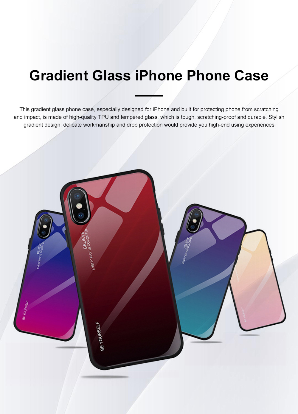 Stylish Minimalist Gradient Color Glass Phone Case Drop-Protection Creative Stained Glass Shell for iPhone XS MAX, XR, X, 7 Plug, 8 Plug, 6 6s Plug 0