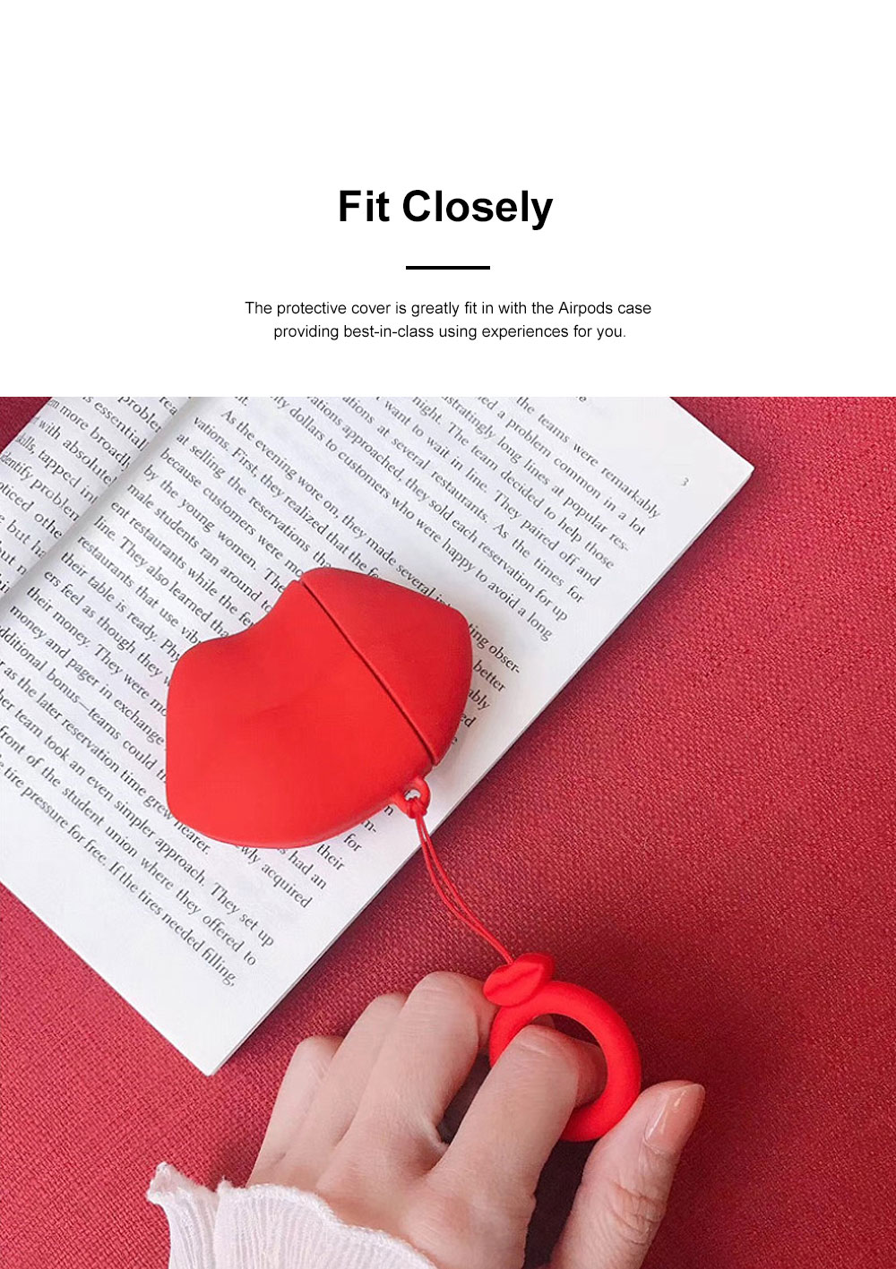 Cute Stylish Red Lip Model Ultra-soft Elastic Silicone Airpods Pouch Apple Bluetooth Earphone Protective Case with Hanging Ring 2