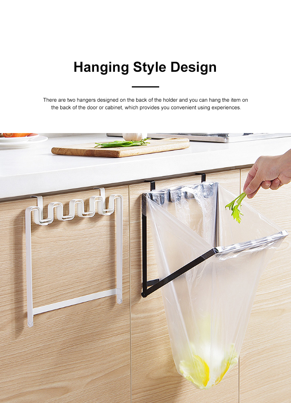 Minimalist Door Back Hanging Style Plastic Garbage Bag Holder Supporter Household Kitchen Accessories Tool 1