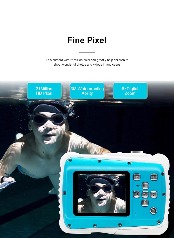 Delicate Portable Breaking-proof 3M Waterproof Children HD Digital Camera 21 Million Pixels Cam for Kids 3