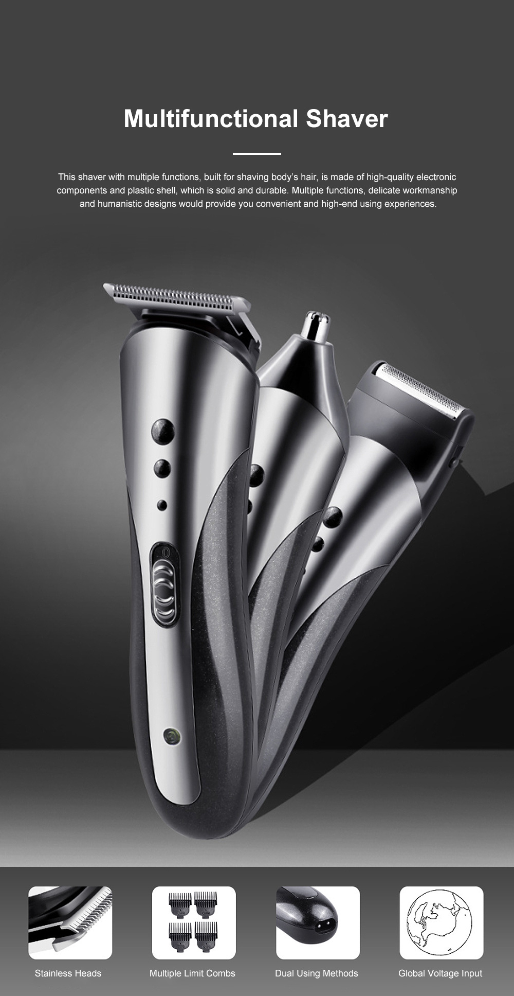 Multifunction Portable Washable Strong Power Bread Digital Shaver Nasal Hair Trimmer Hair Clipper with Floating Head 0