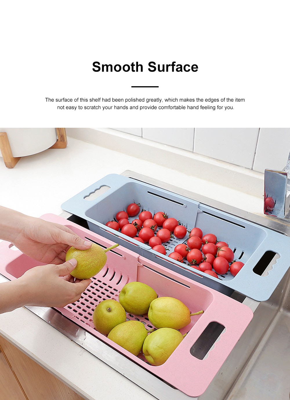 Functional Environmentally-friendly Wheat Straw Stretchable Vegetable Fruit Water Sink Draining Shelf Basket Storage Rack 3