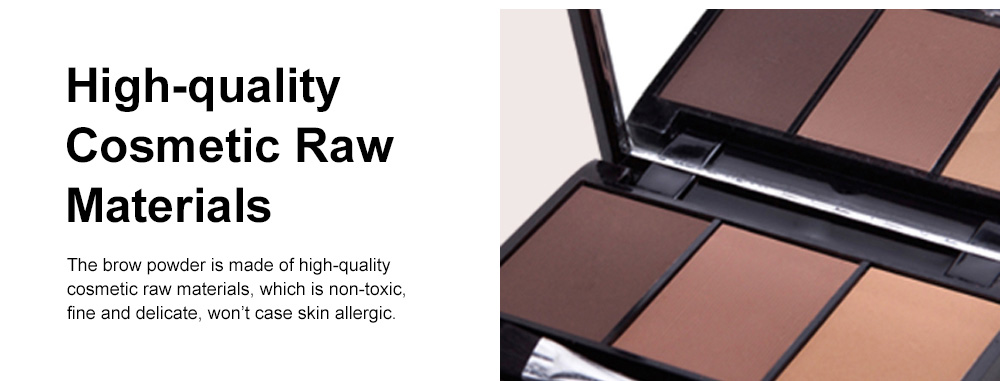 Delicate Fine Three Colors Brow Powder with Brush Mirror Enduring Easy Coloring Eyebrow Makeup Tool Accessories 4