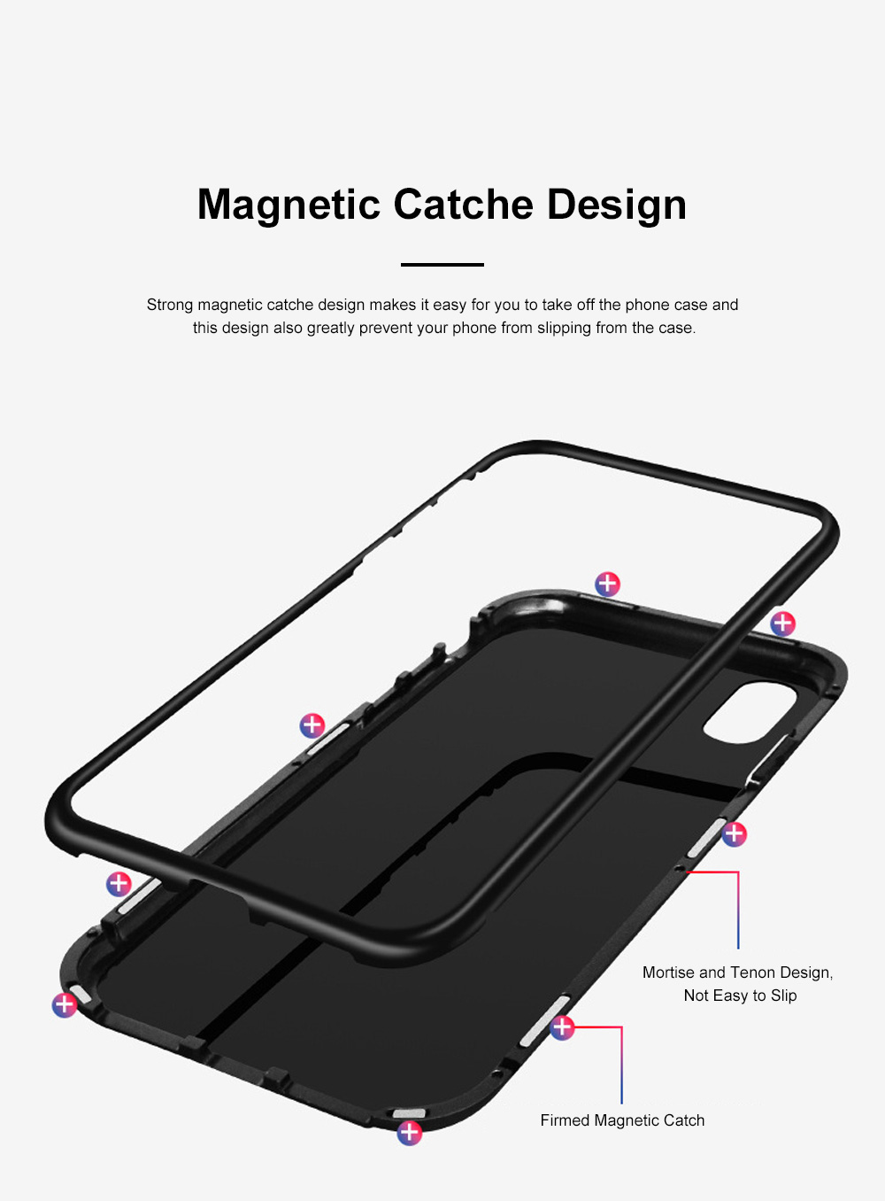 Minimalist Delicate Firmed Magnetic Catche Glass Samsung Phone Case Shock-proof Aluminum Alloy Phone Protective Cover For Samsung note 9, Samsung S9, Samsung s9 plus 4